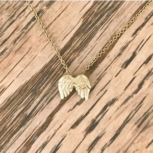 Dainty gold guardian angel wings necklace